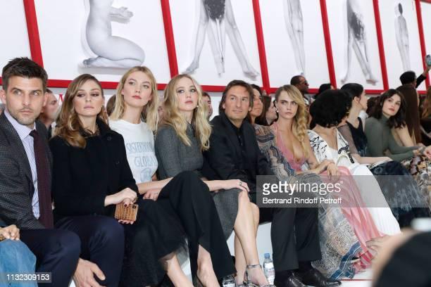 Johannes Huebl his wife Olivia Palermo Karlie Kloss Jennifer Lawrence CEO of Dior Pietro Beccari his wife Elisabetta Beccari Cara Delevingne Bianca...