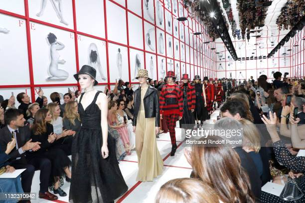 Johannes Huebl his wife Olivia Palermo Karlie Kloss Jennifer Lawrence Cara Delevingne and Bianca Jagger attend the Christian Dior show as part of the...