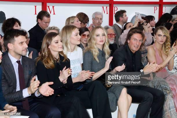 Johannes Huebl his wife Olivia Palermo Karlie Kloss Jennifer Lawrence CEO of Dior Pietro Beccari his wife Elisabetta Beccari and Cara Delevingne...
