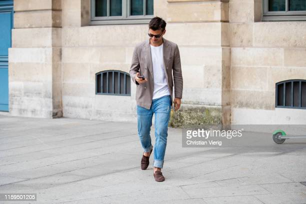 Johannes Huebl is seen outside Dundas during Paris Fashion Week Haute Couture Fall/Winter 2019/2020 on July 01 2019 in Paris France