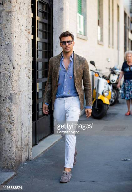 Johannes Huebl is seen outside Etro during the Milan Men's Fashion Week Spring/Summer 2020 on June 16 2019 in Milan Italy