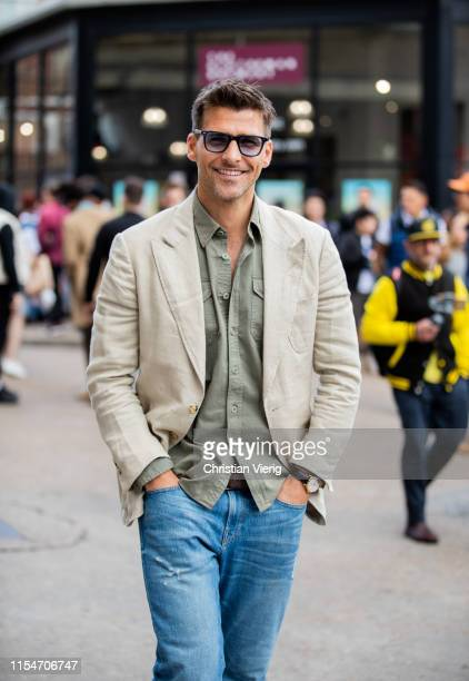 Johannes Huebl is seen outside Iceberg during London Fashion Week Men's June 2019 on June 08 2019 in London England