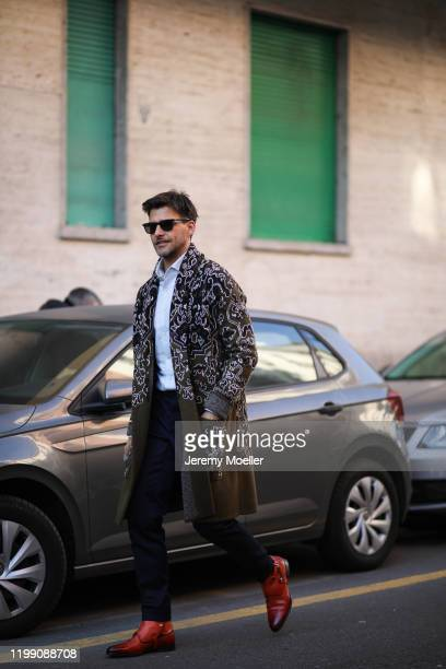 Johannes Huebl is seen wearing a Etro look during Milan Fashion Week Fall/Winter 2020/2021 poses on January 12 2020 in Milan Italy