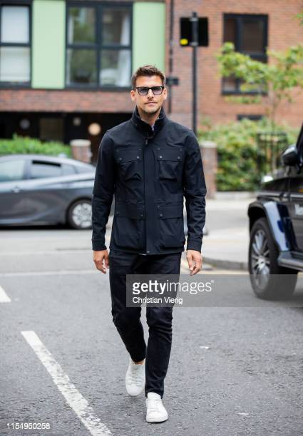 Johannes Huebl is seen wearing black jacket outside Belstaff during London Fashion Week Men's June 2019 on June 09 2019 in London England