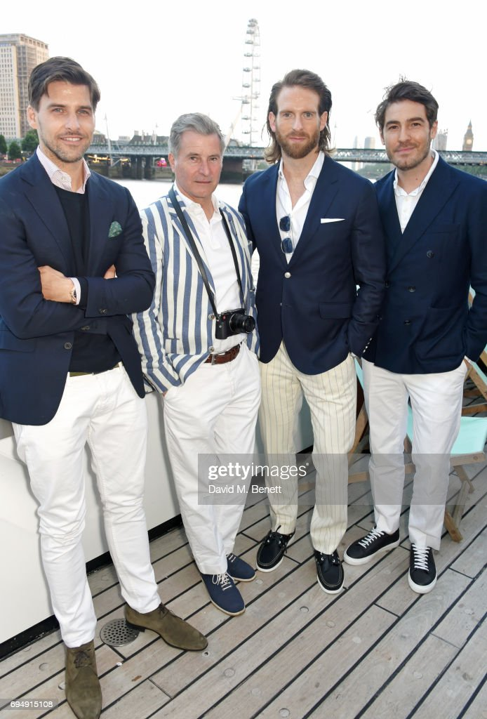 Johannes Huebl, Jeremy Hackett, Craig McGinlay and Robert Konjic attend the Henley Royal Regatta and their official partner, Hackett London, launch event during LFWM aboard The Silver Sturgeon on June 11, 2017 in London, England.
