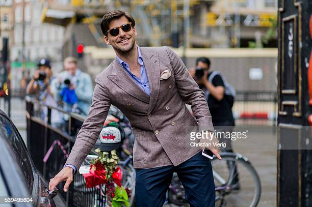 Johannes Huebl outside E Tautz during The London Collections Men SS17 on June 11 2016 in London England