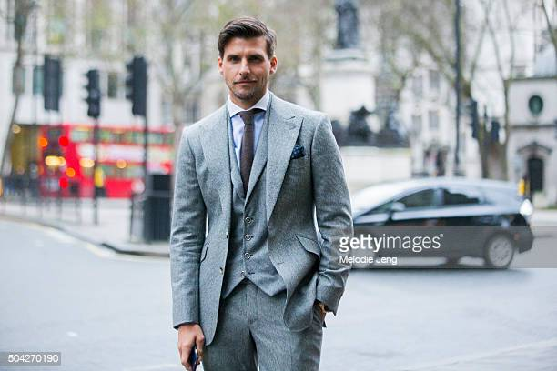 Johannes Huebl wears a Marc Anthony tailoring suit Hackett shirt and Brunello Cucinelli tie and pocketsquare at The London Collections Men AW16 on...