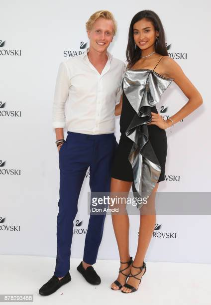 Johannes Jarl and Kelly Gale attend the Swarovski Rainbow Paradise Spring Summer 18 Collection Launch on November 24 2017 in Sydney Australia