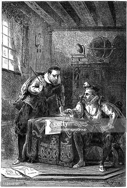 Johannes Kepler German astronomer left with Tycho Brahe Danish astronomer at work in Benatky observatory near Prague while in the employ of emperor...