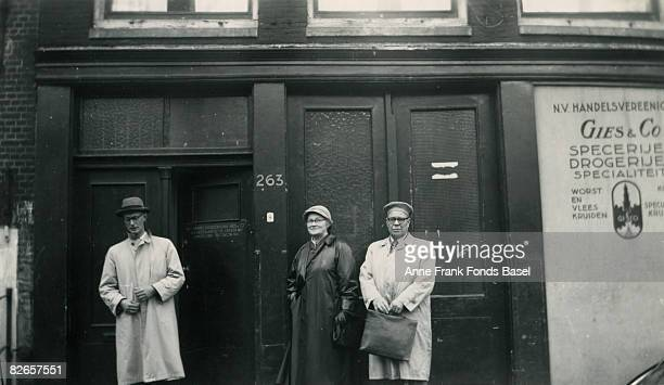 Johannes Kleiman one of the employees of Anne Frank's father Otto outside the Opekta Pectacon premises at Prinsengracht 263 Amsterdam circa 1955 It...