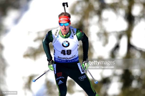 Johannes Kuehn of Germany competes at the 10 km Men's Sprint during the IBU Biathlon World Cup at Chiemgau Arena on January 17 2019 in Ruhpolding...