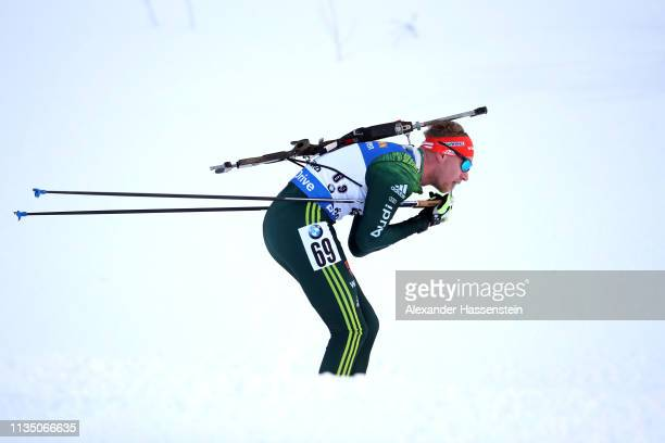 Johannes Kuehn of Germany competes at the IBU Biathlon World Championships Men 10km Sprint at Swedish National Biathlon Arena on March 09, 2019 in...