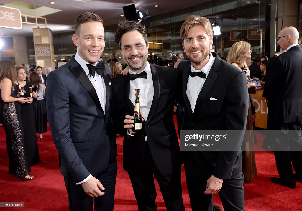 Johannes Kuhnke, Producer Erik Hemmendorff and Writer/Director Ruben Östlund attend the 72nd Annual Golden Globe Awards at The Beverly Hilton Hotel on January 11, 2015 in Beverly Hills, California.