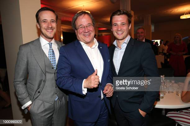 Johannes Laschet, his father Armin Laschet, Prime Minister of North Rhine-Westphalia , and his brother Julius Laschet during the media night of the...
