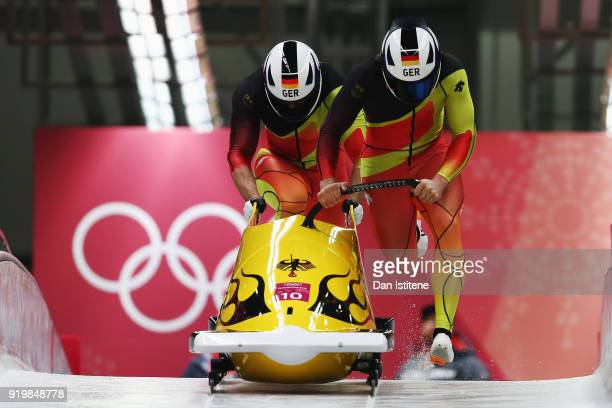 Johannes Lochner and Christopher Weber of Germany slide during twoman Bobsleigh heats on day nine of the PyeongChang 2018 Winter Olympic Games at...