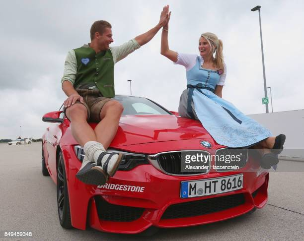 Johannes Lochner attends with Natalie Geisenberger the BMW Oktoberfest Driving Challenge at BMW Driving Academy Maisach on September 19 2017 in...
