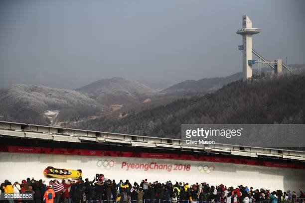 Johannes Lochner Christian Poser Christopher Weber and Christian Rasp of Germany compete during the 4man Boblseigh heats on day sixteen of the...