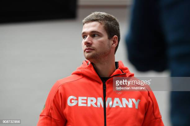 Johannes Lochner looks on during the 2018 PyeongChang Olympic Games German Team kit handover at Postpalast on January 22 2018 in Munich Germany