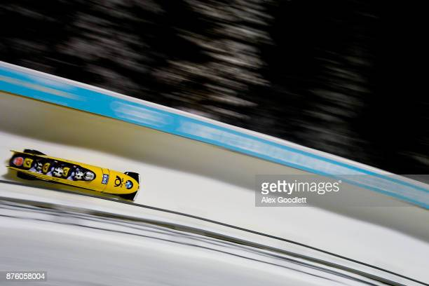 Johannes Lochner Marc Rademacher Christopher Weber and Christian Rasp of Germany compete in the Men's Bobsleigh during the BMW IBSF Bobsleigh and...