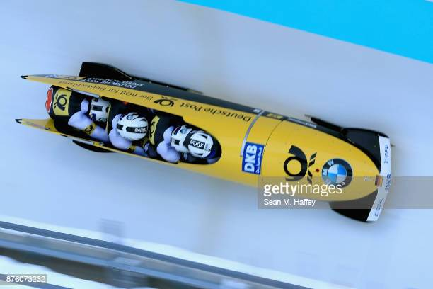 Johannes Lochner MArc Rademacher Christopher Weber and Christian Rasp of Germany compete in the Women's Skeleton during the BMW IBSF Bobsleigh and...