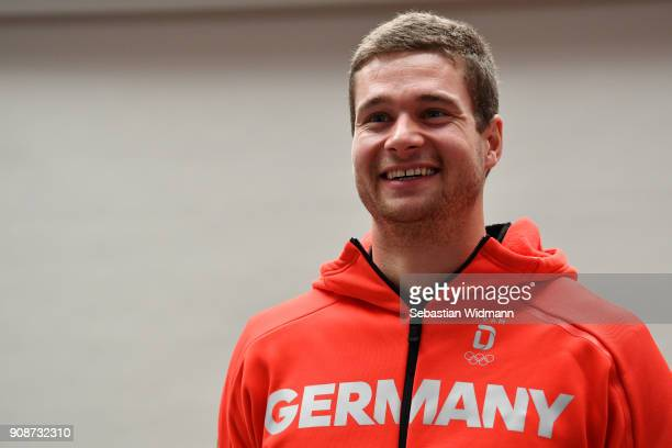 Johannes Lochner smiles during the 2018 PyeongChang Olympic Games German Team kit handover at Postpalast on January 22 2018 in Munich Germany