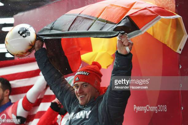 Johannes Ludwig of Germany celebrates winning the bronze medal following run 4 during the Luge Men's Singles on day two of the PyeongChang 2018...