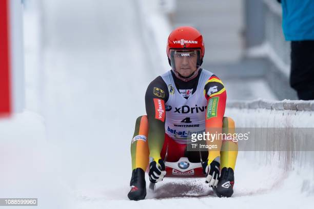Johannes Ludwig of Germany completes the sprint men's competition of the FIL World Cup at Veltins Eis-Arena on January 25, 2019 in Winterberg,...