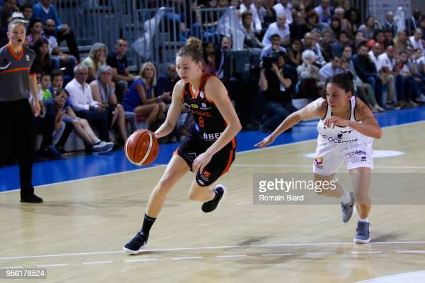 Johannes Marine of Bourges and Franchelin Coline of Lyon during the Women's League Semi Final Second Leg match between Lyon Asvel Feminin and Tango...