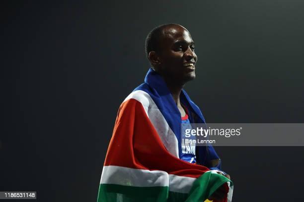 Johannes Nambala of Nambia celebrates winning the Men's 400m T13 on Day Three of the IPC World Para Athletics Championships 2019 Dubai on November 09...