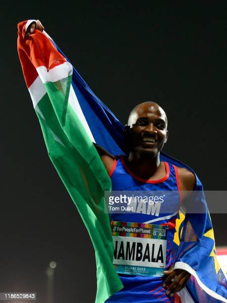 Johannes Nambala of Namibia celebrates winning the Men's 400m T13 final race on Day Three of the IPC World Para Athletics Championships 2019 Dubai on...