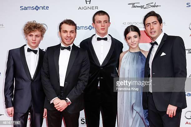 Johannes Nussbaum Edin Hasanovic Jannis Niewoehner Helen Woigk and David Dietl attend the German Film Ball 2015 on January 17 2015 in Munich Germany