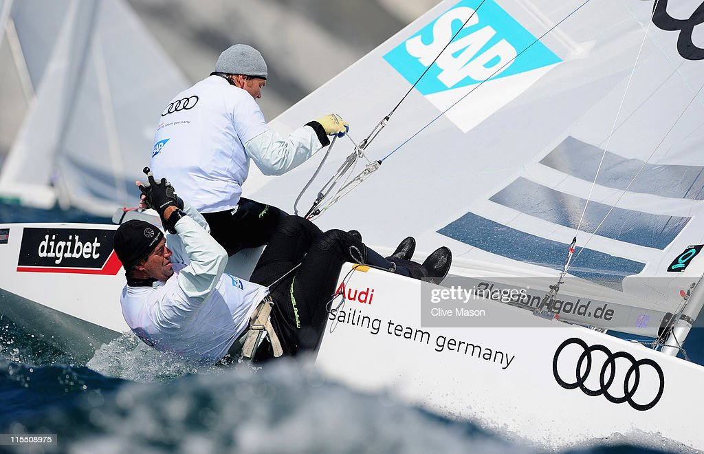 Johannes Polgar and Markus Koy of Germany in action during a Star class race on day two of the Skandia Sail For Gold Regatta at the Wemouth and Portland National Sailing Academy on June 7, 2011 in Weymouth, England.