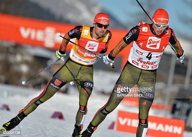 Johannes Rydzek and Eric Frenzel of Germany compete at the Men's Nordic Combined FIS World Cup in Seefeld Austria on January 29 2017 / AFP / APA /...