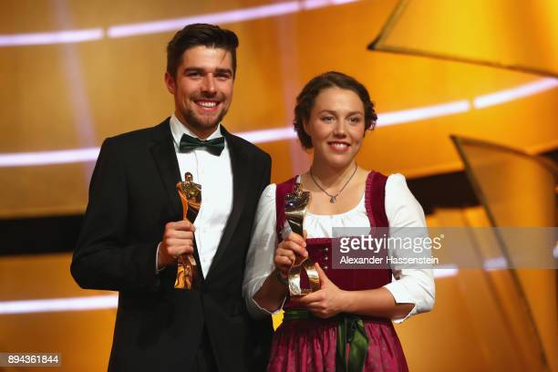 Johannes Rydzek and Laura Dahlmeier poses with their 'Sportler des Jahres 2017' awards during the 'Sportler des Jahres 2017' Gala at Kurhaus...