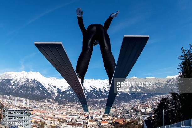 Johannes Rydzek jumps during the ski jumping training for the Nordic Combined ahead of the FIS Nordic World Ski Championships on February 19, 2019 in...