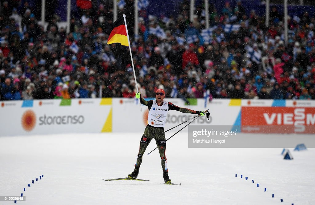 Johannes Rydzek of Germany celebrates after winning the gold medal in the Men's Nordic Combined Team HS 100 4 x 5.0km Cross-Country Sprint during the FIS Nordic World Ski Championships on February 26, 2017 in Lahti, Finland.