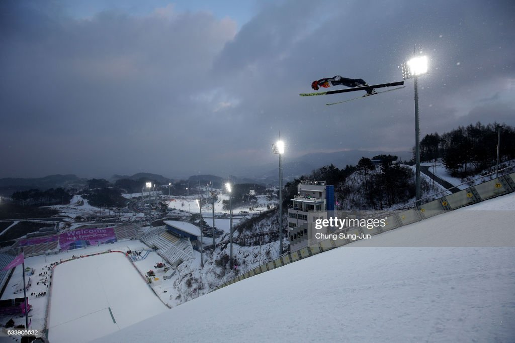 Johannes Rydzek of Germany competes in the Individual Gundersen 10km Large Hill trial during the FIS Nordic Combined World Cup presented by Viessmann - Test Event For Pyeongchang 2018 Olympic Winter Games at Alpensia Cross-Country Centre on February 5, 2017 in Pyeongchang-gun, South Korea.