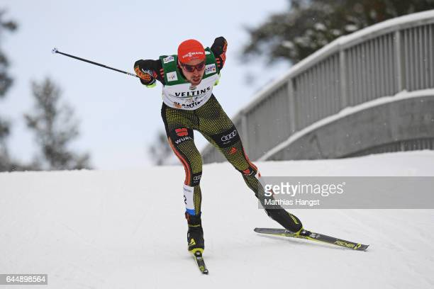 Johannes Rydzek of Germany competes in the Men's Nordic Combined 10KM Cross Country during the FIS Nordic World Ski Championships on February 24,...