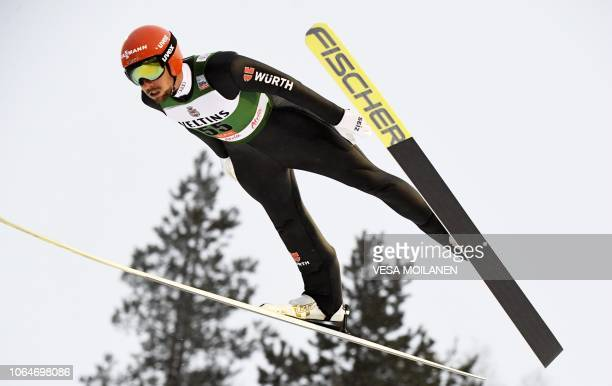 Johannes Rydzek of Germany competes in the Nordic Combined HS 142 Ski Jumping Competition at the FIS Nordic Skiing World Cup in Ruka, Finland, on...