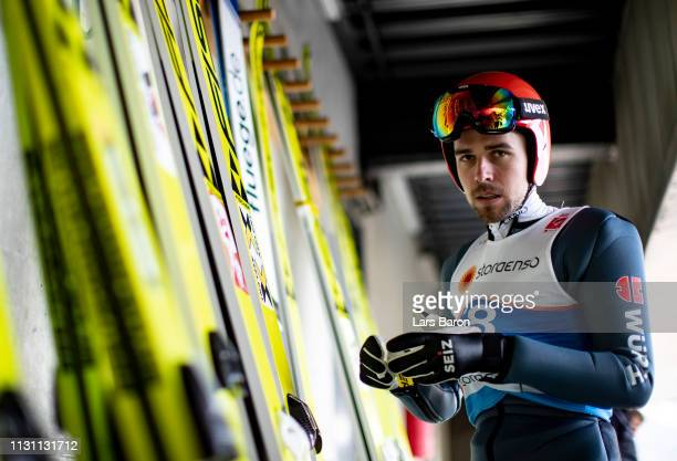 Johannes Rydzek of Germany is seen during the ski jumping training for the Nordic Combined Competition of the FIS Nordic World Ski Championships on...