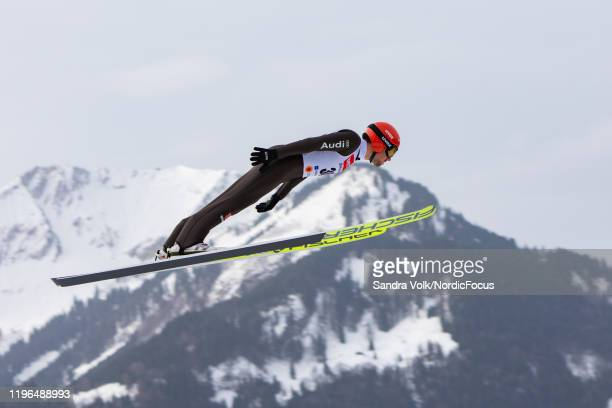 Johannes Rydzek of Germany jumps during the nordic combined HS 140/10km at the FIS nordic world cup Oberstdorf on January 26, 2020 in Oberstdorf,...