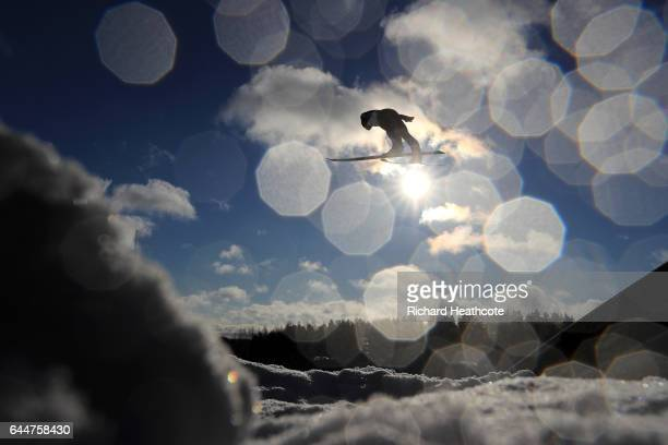 Johannes Rydzek of Germany makes a practice jump prior to the Men's Nordic Combined HS100 during the FIS Nordic World Ski Championships on February...