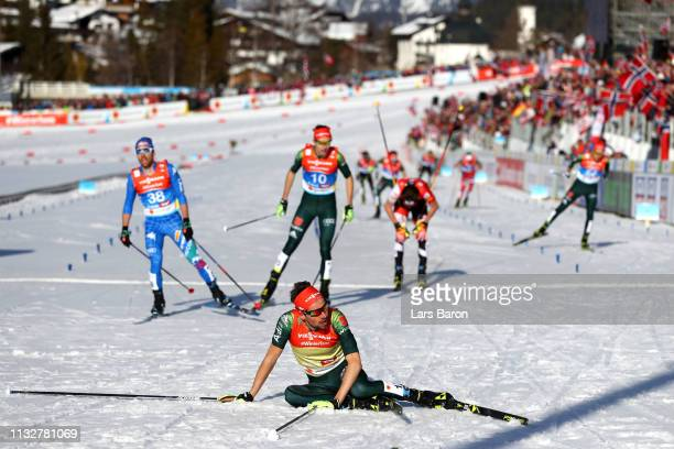 Johannes Rydzek of Germany reacts at the finish competes in the Men's Nordic Combined Individual Gundersen 10km at the 2019 FIS Nordic World Ski...