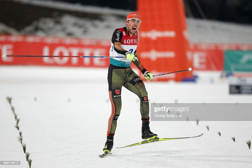 Johannes Rydzek of Germany wins the Individual Gundersen 10km Large Hill during the FIS Nordic Combined World Cup presented by Viessmann - Test Event For Pyeongchang 2018 Olympic Winter Games at Alpensia Cross-Country Centre on February 4, 2017 in Pyeongchang-gun, South Korea.