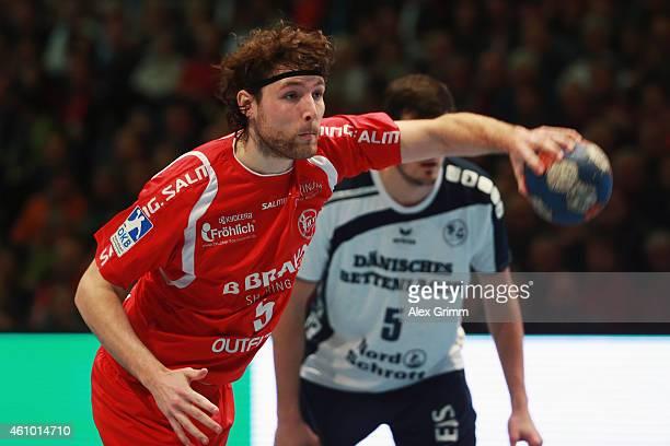 Johannes Sellin of Melsungen controles the ball during the DKB Handball Bundesliga match between MT Melsungen and SG FlensburgHandewitt at...