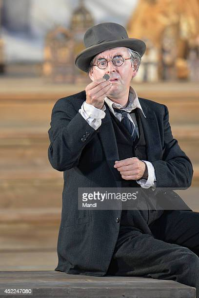 Johannes Silberschneider is seen during the photo rehearsal of 'Jedermann' on the Domplatz ahead of Salzburg Festival 2014 on July 16, 2014 in...