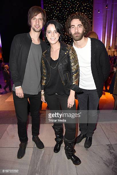 Johannes Stolle Stefanie Kloss and Andreas Nowak of the band 'Silbermond' attend the Echo Award 2016 after show party on April 07 2016 in Berlin...