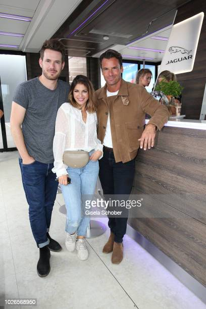 Johannes Strate singer of the band Revolverheld and his girlfriend Anna Angelina Wolfers and Stephan Luca during the 'Dua Lipa x Jaguar The PACE...
