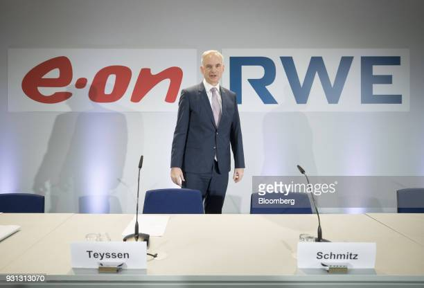 Johannes Teyssen chief executive officer of EON SE arrives for a news conference in Essen Germany on Tuesday March 13 2018 EON will shed as many as...