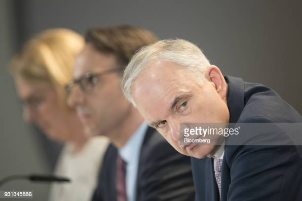Johannes Teyssen chief executive officer of EON SE looks on during a news conference in Essen Germany on Tuesday March 13 2018 EON will shed as many...